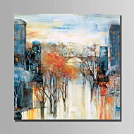 Hand-Painted Landscape Square,Abstract One Panel Canvas Oil Painting For Home Decoration