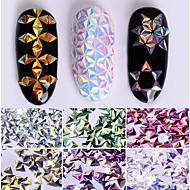 0.7g 유니콘 ab 색상 손톱 장식 조각 카멜레온 삼각형 무지개 빛깔의 flakies 6 색 3D 네일 아트 장식 매니큐어 팁