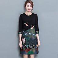 Dámské Větší velikosti Sofistikované Shift Šaty - Jednobarevné, Výšivka Nad kolena