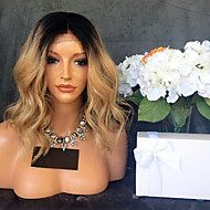 Women Human Hair Lace Wig Brazilian Remy Lace Front 130% Density With Baby Hair Body Wave Wig Black/Strawberry Blonde Short Medium Length