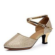 Damen Schuhe für modern Dance Paillette Sandalen Schnalle Blockabsatz Tanzschuhe Silber / Braun / Rot