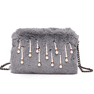 Women Bags All Seasons Fur Shoulder Bag Zipper for Casual Outdoor Red Blushing Pink Gray Dark Green Sky Blue