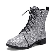 cheap Women's Boots-Women's Shoes Glitter Spring Fall Novelty Fashion Boots Boots Chunky Heel Round Toe Booties/Ankle Boots Lace-up For Casual Party & Evening
