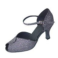 baratos Sapatilhas de Dança-Mulheres Sapatos de Dança Latina Courino Presilha Salto Personalizado Personalizável Sapatos de Dança Branco / Preto / Cinzento Escuro / Profissional