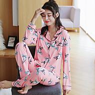 Kvinders Pyjamas Medium Bomuld Romersk Strik Dame Blå Lyserød