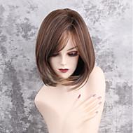 halpa -Naisten Synteettiset peruukit Suojuksettomat Keskikokoinen Suora Ruskea/valkoinen Raidoitetut hiukset Sivuosa Bob-leikkaus Luonnollinen