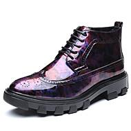 メンズ 靴 本革 春 秋 ファッションブーツ ダイビングシューズ ブーツ ブーティー/アンクルブーツ アップリケ 用途 カジュアル ブラック レッド