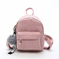Women Bags Velvet Backpack Zipper for Casual All Seasons Black Blushing Pink