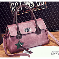 Women Bags All Seasons PU Shoulder Bag Buttons for Casual Blushing Pink Gray Purple Dark Green Brown
