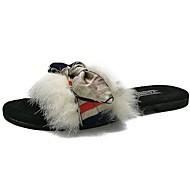 レディース 靴 PUレザー 秋 コンフォートシューズ スリッパ&フリップ・フロップ ローヒール オープントゥ リボン 用途 カジュアル ホワイト ブラック カーキ色