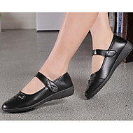 cheap Women's Flats-Women's Shoes Nappa Leather Winter Fall Comfort Flats Flat Heel Booties/Ankle Boots for Casual Black