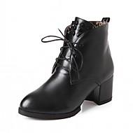 tanie Small Size Shoes-Damskie Obuwie PU Derma Jesień Zima Kozaki na obcasie Zabawne Comfort Buciki Gruby obcas Okrągły Toe Kozaczki / kozaki do kostki Szurowane