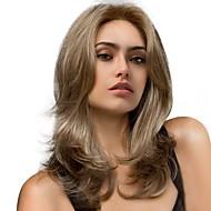 美元素 Vrouw Synthetische pruiken Lang Natuurlijk golvend bruin/Wit Haar met highlights/balayage Natuurlijke pruik Kostuumpruik