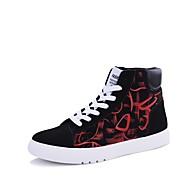 お買い得  メンズスニーカー-男性用 靴 繊維 春 秋 ライト付きソール スニーカー 編み上げ のために カジュアル パープル レッド ブラックとホワイト