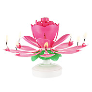 cheap Candles & Candleholders-Happy Birthday Candles Electric Led For Cake Musical Lotus Flower Art Rotating Lights Lamp Party Decoration