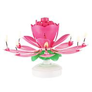 gratulerer med fødselsdagen stearinlys elektrisk ledet til kage musikalsk lotus blomst kunst roterende lys lampe fest dekoration