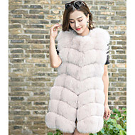 Women's Casual/Daily Sophisticated Fall Winter Fur Coat,Solid V Neck Sleeveless Regular Fox Fur