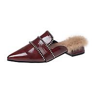 Dames Schoenen Tricot PU Winter Comfortabel Klompen & Muiltjes Gepuntte Teen Voor Causaal Zwart Donker Bruin