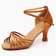 baratos Sapatilhas de Dança-Mulheres Sapatos de Dança Latina Terilene Salto Personalizável Sapatos de Dança Preto / Camel / Profissional