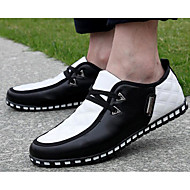 Masculino sapatos Couro Ecológico Primavera Outono Conforto Oxfords Para Casual Preto Branco/Preto Black / azul