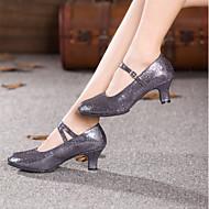 billige Moderne sko-Dame Moderne Glimtende Glitter Paljett Høye hæler Profesjonell Gummi Spenne Kubansk hæl Fuksia Regnbue Rød Blå Rosa