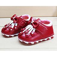 Bebê sapatos Couro Ecológico Outono Inverno Conforto Primeiros Passos Tênis Para Casual Vermelho Rosa claro