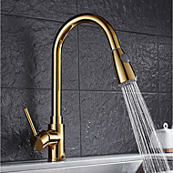 Contemporary Pull-out/Pull-down Vessel Widespread Rotatable Pull out with  Ceramic Valve Ti-PVD , Kitchen faucet