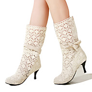 cheap Women's Boots-Women's Lace Fall / Winter Comfort / Novelty / Fashion Boots Boots Pointed Toe Mid-Calf Boots Bowknot White / Black / Brown / Party & Evening