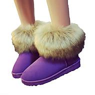 Feminino Sapatos Pele Nobuck Outono Inverno Conforto Inovador Botas de Neve Botas da Moda Forro de fluff Botas Ponta Redonda Botas Curtas