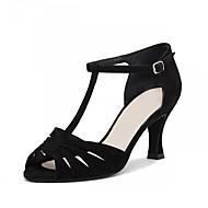 Недорогие -Для женщин Латина Дерматин На каблуках Концертная обувь Черный Персонализируемая