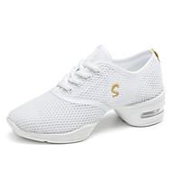 baratos Sapatilhas de Dança-Mulheres Tênis de Dança Tule Têni Sem Salto Sapatos de Dança Branco / Preto / Fúcsia / Espetáculo
