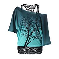 Γυναικεία T-shirt Ενεργό - Βαμβάκι Συνδυασμός Χρωμάτων Χαμόγελο Στάμπα Θαλασσί L