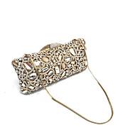 baratos Clutches & Bolsas de Noite-Mulheres Bolsas Metal Bolsa de Festa Detalhes em Cristal Dourado / Rhinestone Crystal Evening Bags