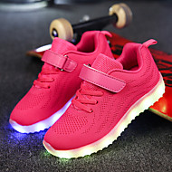 cheap Girls' Shoes-Girls' Shoes Fabric Net Winter Fall Light Up Shoes Comfort Sneakers LED Magic Tape for Casual Outdoor Black Dark Blue Gray Pink