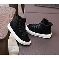 男の子 靴 レザー 冬 秋 コンフォートシューズ ブーツ のために カジュアル ブラック