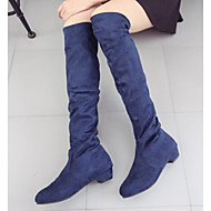 cheap -Women's Shoes Nappa Leather Winter Fashion Boots / Slouch Boots Boots Chunky Heel Knee High Boots Dark Blue / Brown / Red