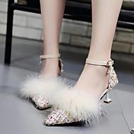 abordables Talons pour Femme-Femme Chaussures Plume / Fourrure Tissu Eté Automne D'Orsay & Deux Pièces Escarpin Basique Doublure fluff Chaussures à Talons Bout pointu