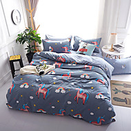Duvet Cover Sets Cartoon 4 Piece Reactive Print 4pcs (1 Duvet Cover, 1 Flat Sheet, 2 Shams) (If Twin size, only 1 Sham or Pillowcase)