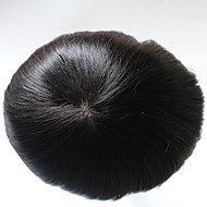 Natural Hairline Replacement System Straight 1b Color Hair Toupee for Men