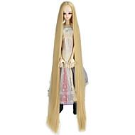 Naisten Synteettiset peruukit Suojuksettomat Hyvin pitkä Kinky Straight Tummanvaalea Doll Wig Rooliasu peruukki