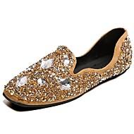 cheap Women's Flats-Women's Shoes PU Winter Fall Comfort Flats Round Toe Crystal for Casual Black Army Green Khaki