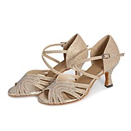 baratos Sapatilhas de Dança-Mulheres Sapatos de Salsa Honeycomb Salto Pedrarias / Cristais Salto Alto Sapatos de Dança Dourado / Prata / Interior