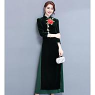 Mulheres balanço Vestido Sólido Colarinho Chinês