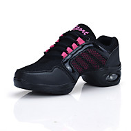 "Women's Dance Sneakers Tulle Sneaker Practice Splicing Flat Heel Gold Blushing Pink 1"" - 1 3/4"""