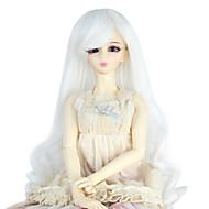 女性 人工毛ウィッグ キャップレス ロング丈 カール ホワイト ドールウィッグ コスチュームウィッグ