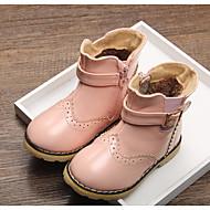 Para Meninas sapatos Pele Real Outono Inverno Coturnos Forro de fluff Botas Para Casual Preto Rosa claro