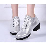 Women's Dance Sneakers Synthetic Microfiber PU Heel Practice Gold Black Silver