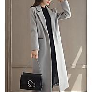 Feminino Casaco Diário Simples Casual Inverno Outono,Sólido Longo Lã Poliéster Colarinho de Camisa Manga Comprida