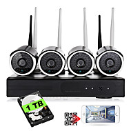 cheap Security & Safety-YanSe® Plug and Play 4CH Wireless NVR Kit Night Vision Security IP Camera WIFI Surveillance CCTV System(Built-in 1TB HDD)