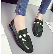 Women's Shoes Patent Leather Spring Summer Comfort Flats Round Toe For Casual Green Brown Black